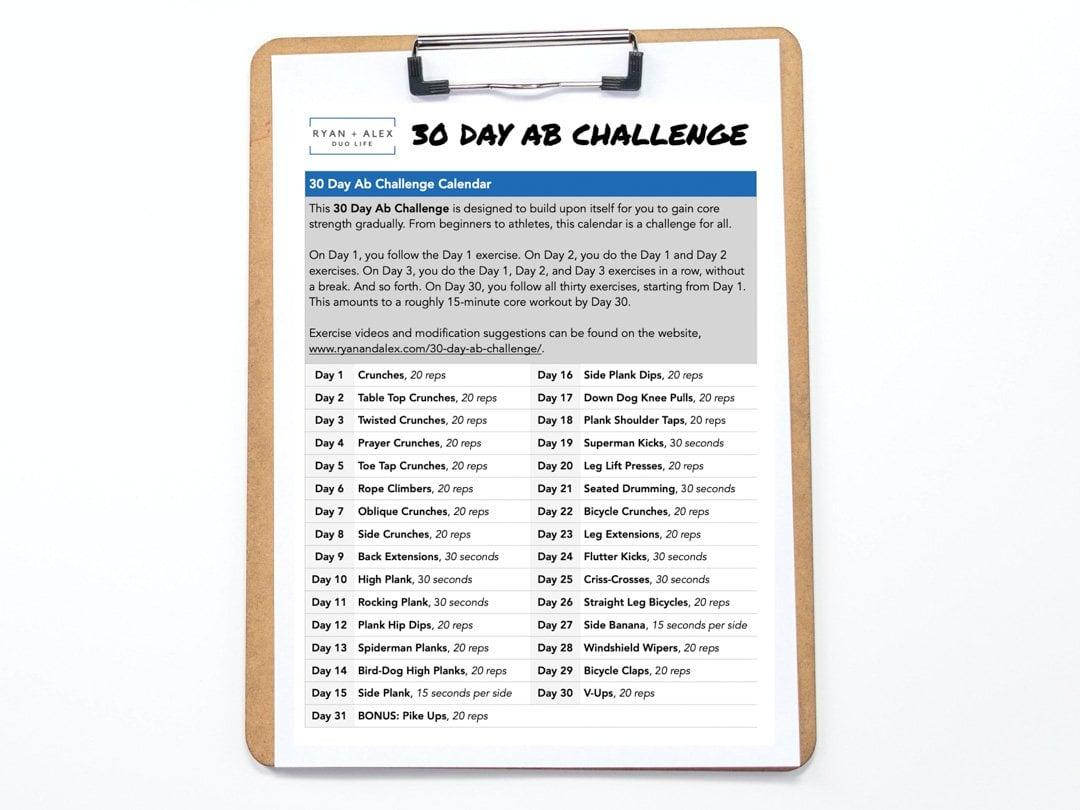 30-Day Ab Challenge Calendar Ryan and Alex Duo Life