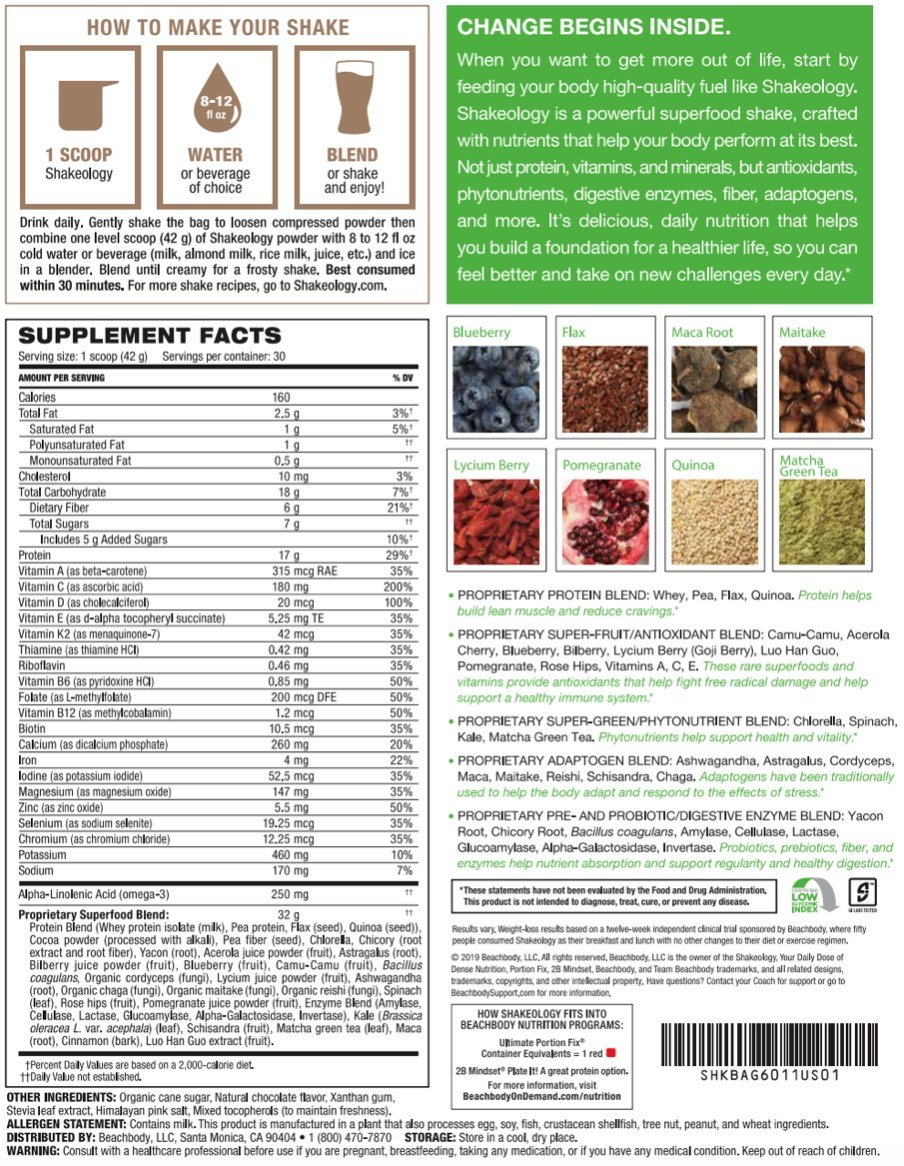 Shakeology review chocolate vegan ingredients and nutrition facts