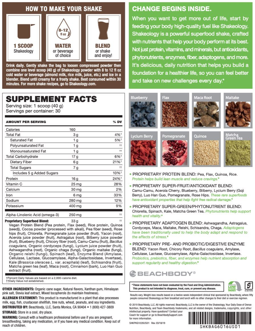 Shakeology review chocolate whey ingredients and nutrition facts
