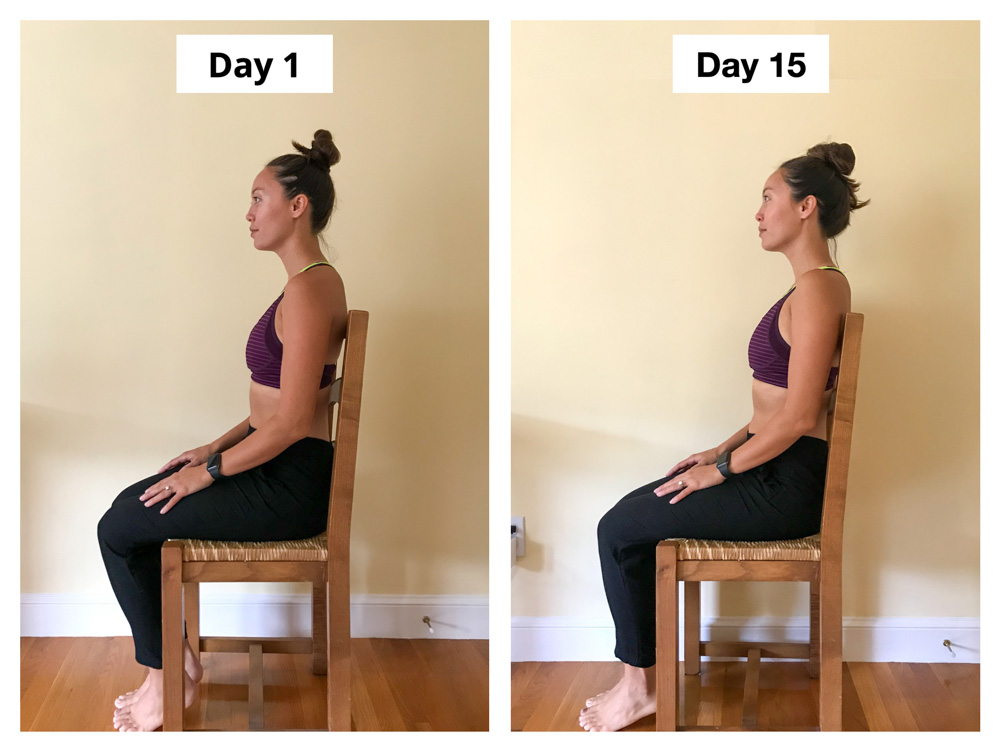 Upright Go 2 Review Posture Corrector Experiment Alex Before and After Seated