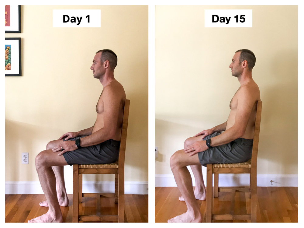 Upright Go 2 Review Posture trainer Experiment Ryan Before and After Seated