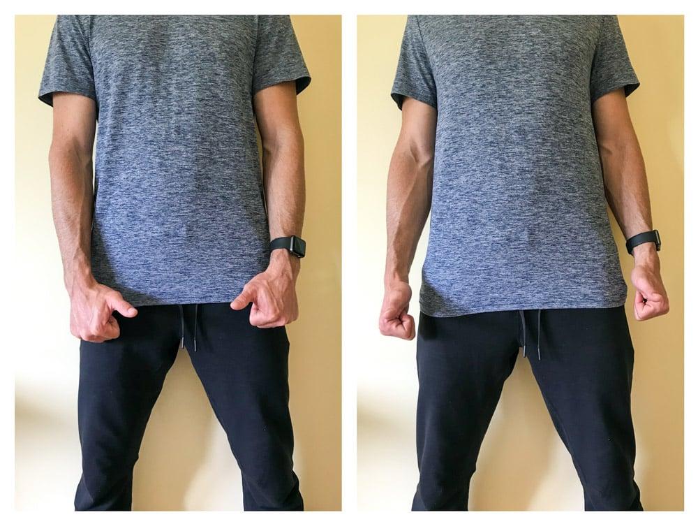upright go 2 review posture corrector experiment forward shoulders thumb test