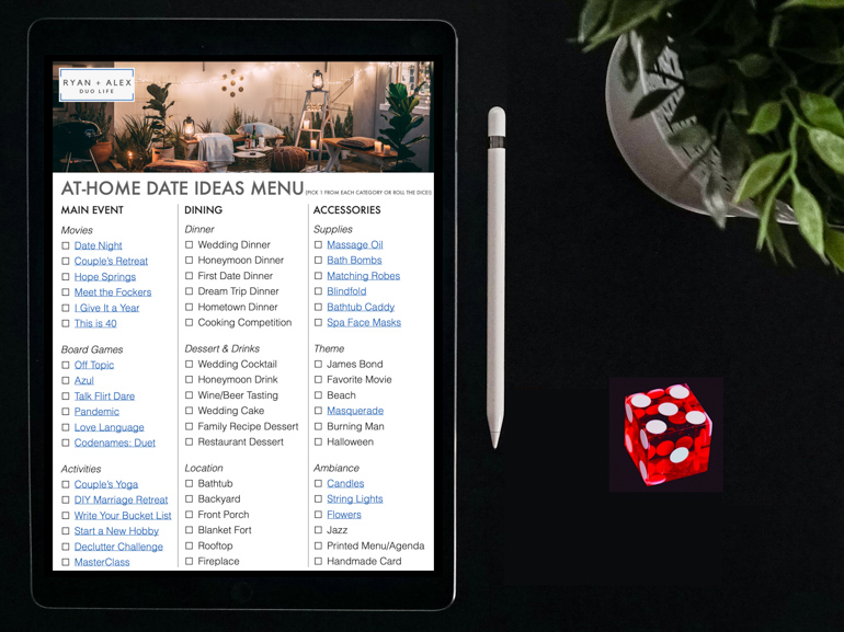 At-Home Date Ideas Menu_Ryan and Alex Duo Life