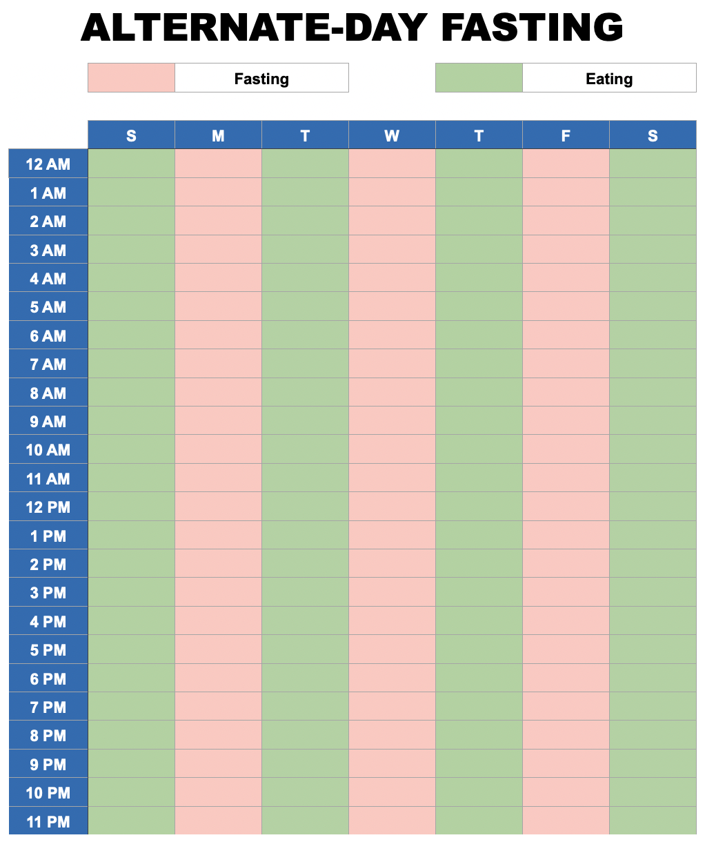 Intermittent Fasting Meal Plan Ryan and Alex Duo Life Alternate-Day Fasting Schedule