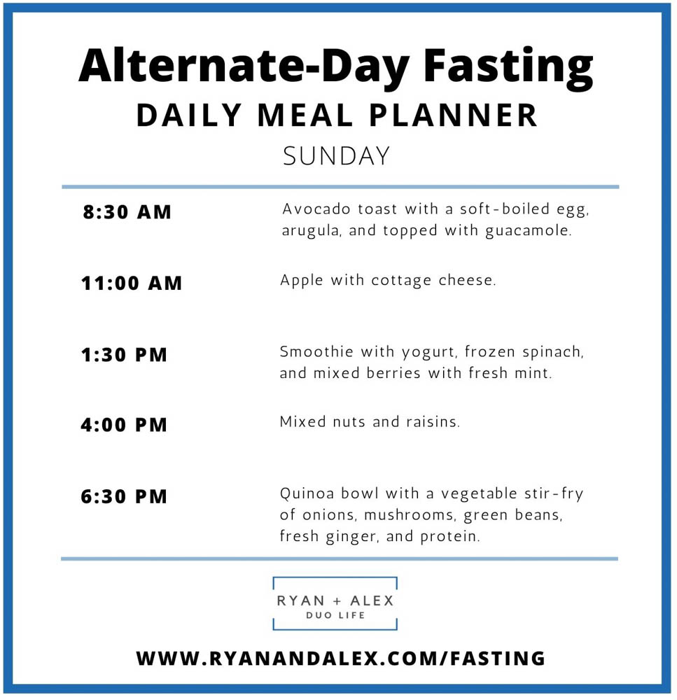 Intermittent Fasting Meal Plan Ryan and Alex Duo Life Alternate-Day Fasting Sunday