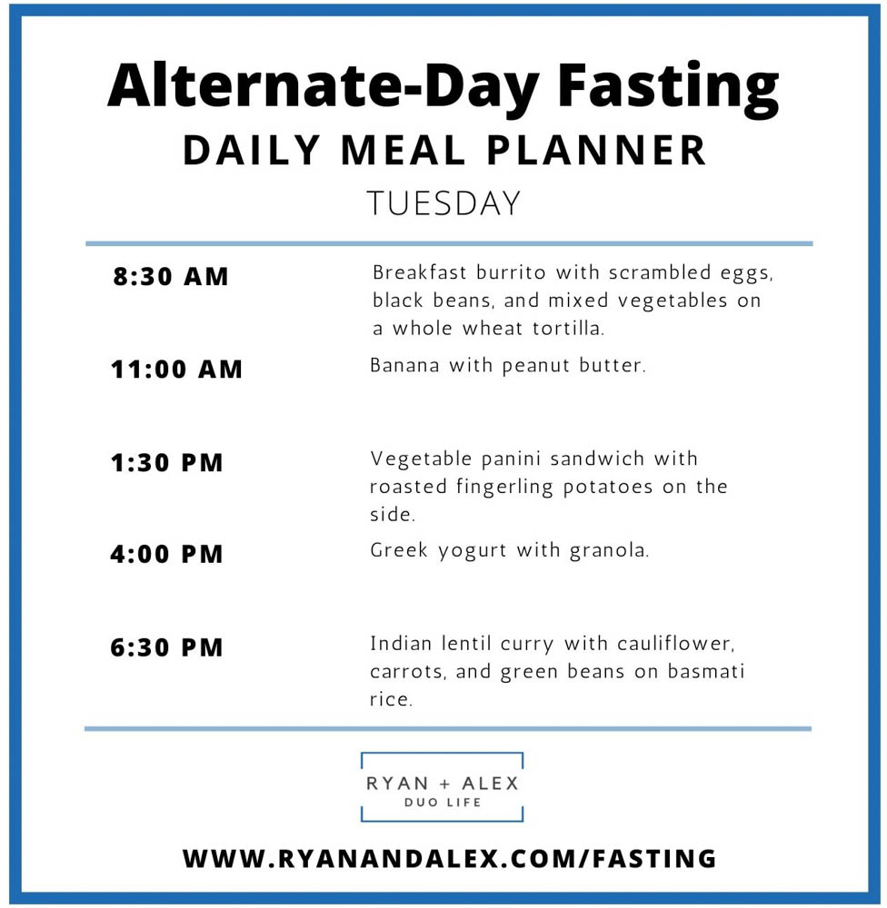 Intermittent Fasting Meal Plan Ryan and Alex Duo Life Alternate-Day Fasting Tuesday