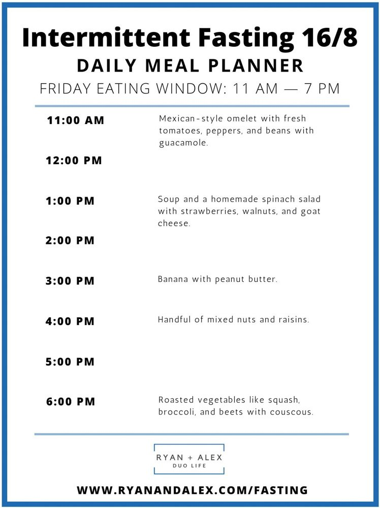Intermittent Fasting Meal Plan Ryan and Alex Duo Life Intermittent Fasting 16-8 Meal Plan Friday
