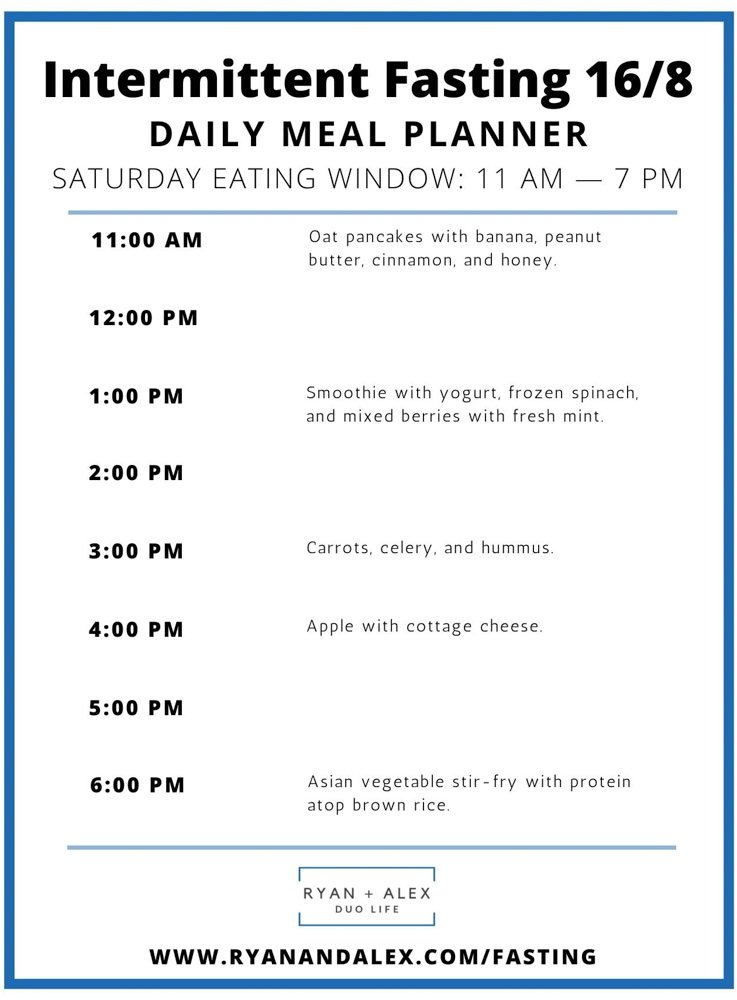 Intermittent Fasting Meal Plan Ryan and Alex Duo Life Intermittent Fasting 16-8 Meal Plan Saturday