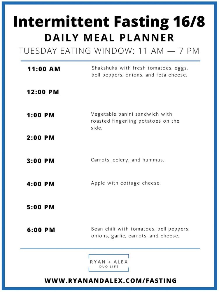 Intermittent Fasting Meal Plan Ryan and Alex Duo Life Intermittent Fasting 16-8 Meal Plan Tuesday