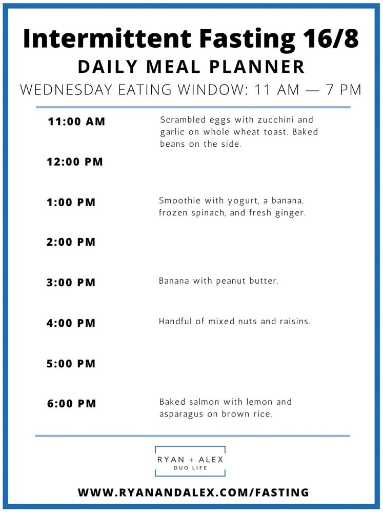 Intermittent Fasting Meal Plan Ryan and Alex Duo Life Intermittent Fasting 16-8 Meal Plan Wednesday