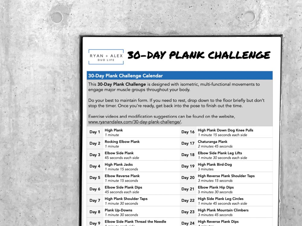 30 Day Plank Challenge Sign Up Form