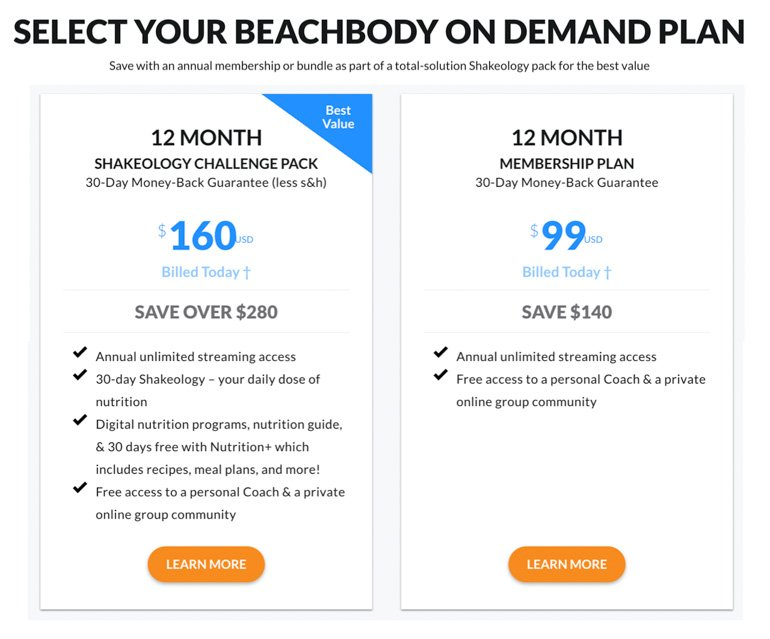 How much does beachbody on demand cost plan options