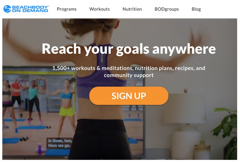 How to start your beachbody on demand free trial join now button